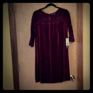 NWT Luxology Velvet and Lace Shift Dress